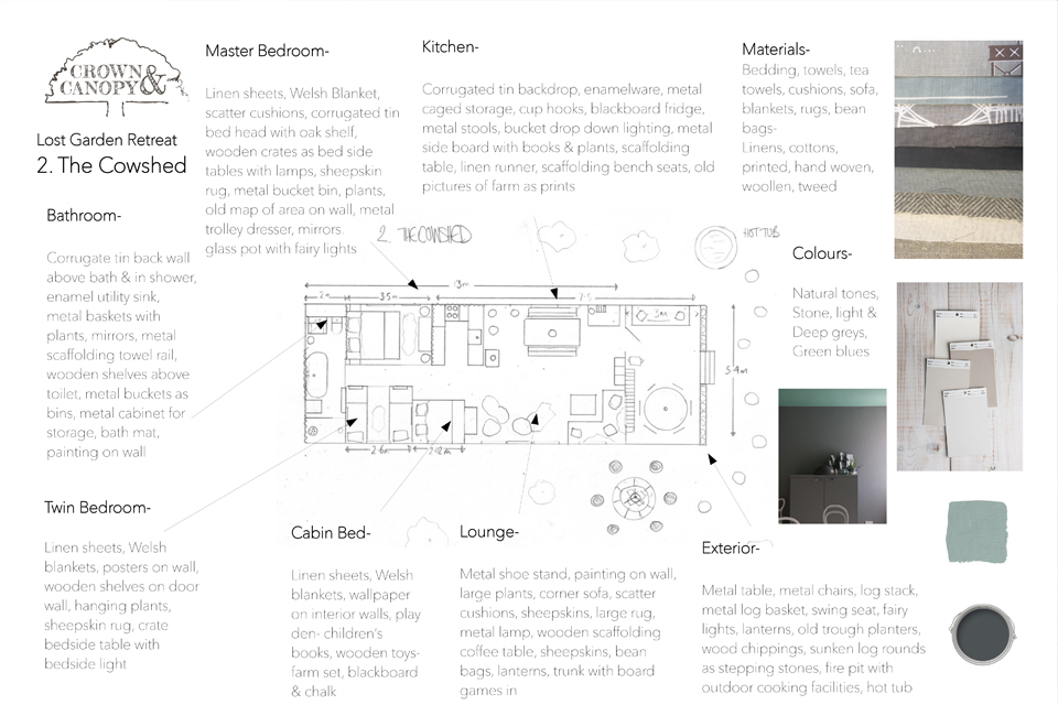 The Cowshed, Suffolk, Crown and Canopy, Floorplan and Materials 1