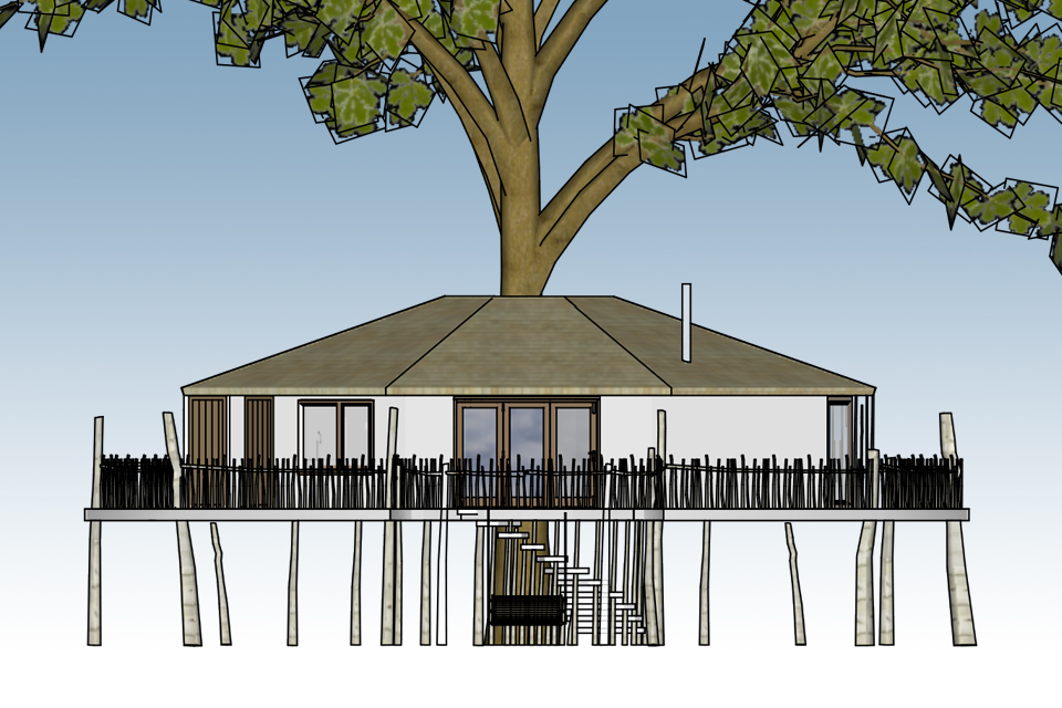 The Octagon Treehouse, Crown and Canopy, Exterior View 1