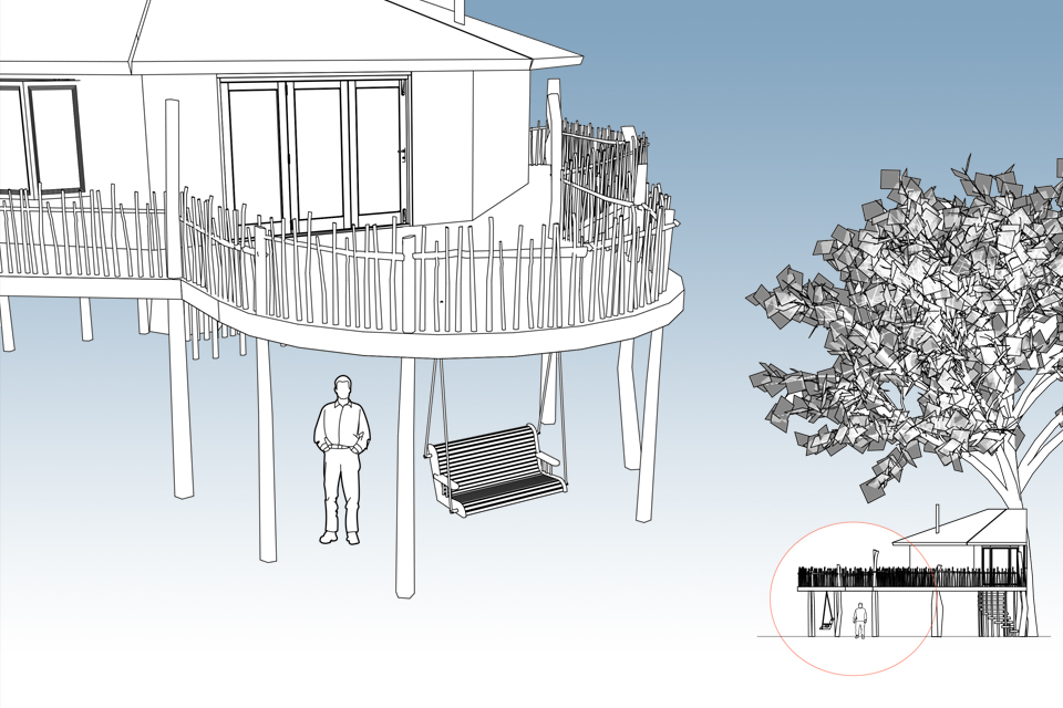 The Octagon Treehouse, Crown and Canopy, Exterior View 2
