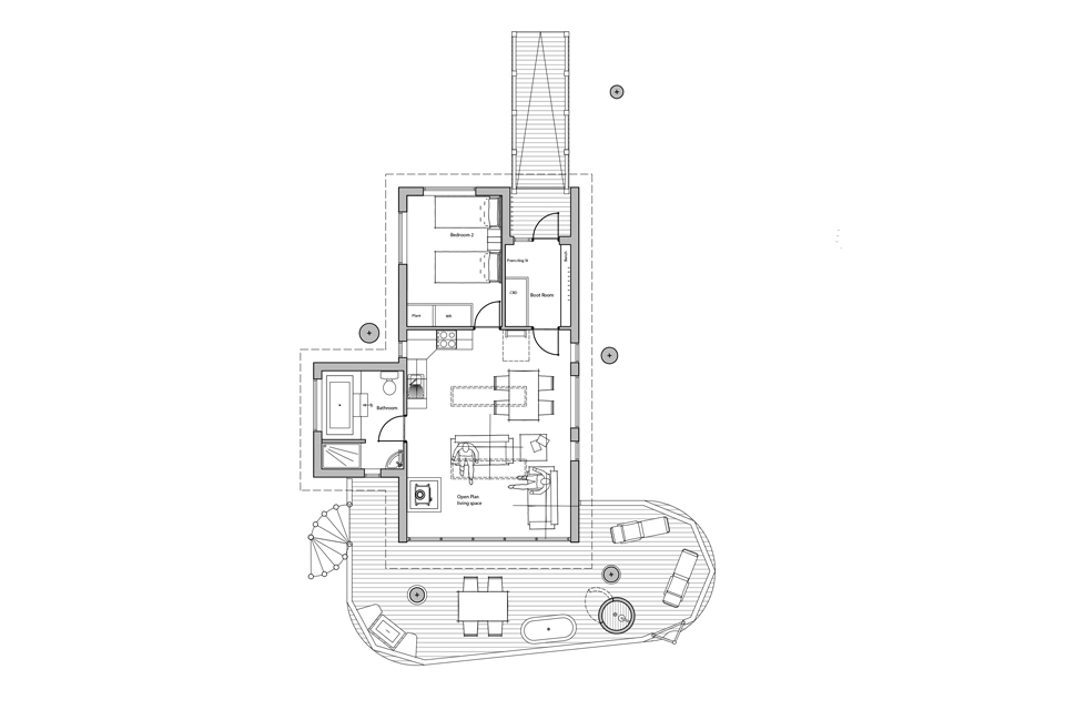 Brinsop Court Treehouses, Plan View Ground Floor, Crown and Canopy